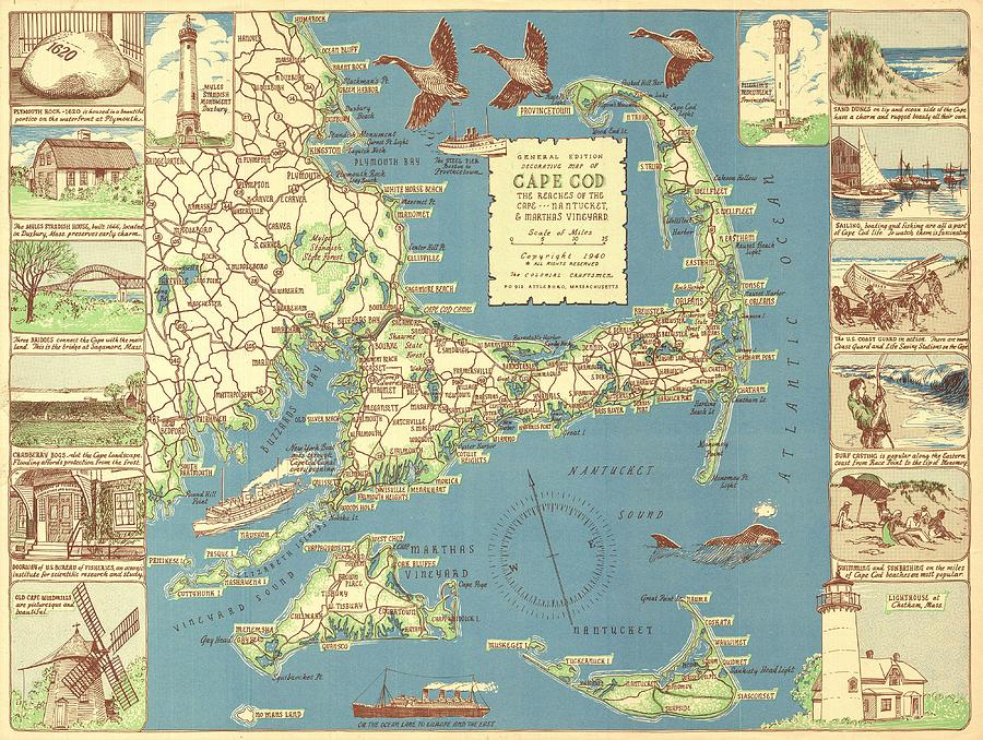 Vintage Cape Cod Map Drawing by CartographyAssociates