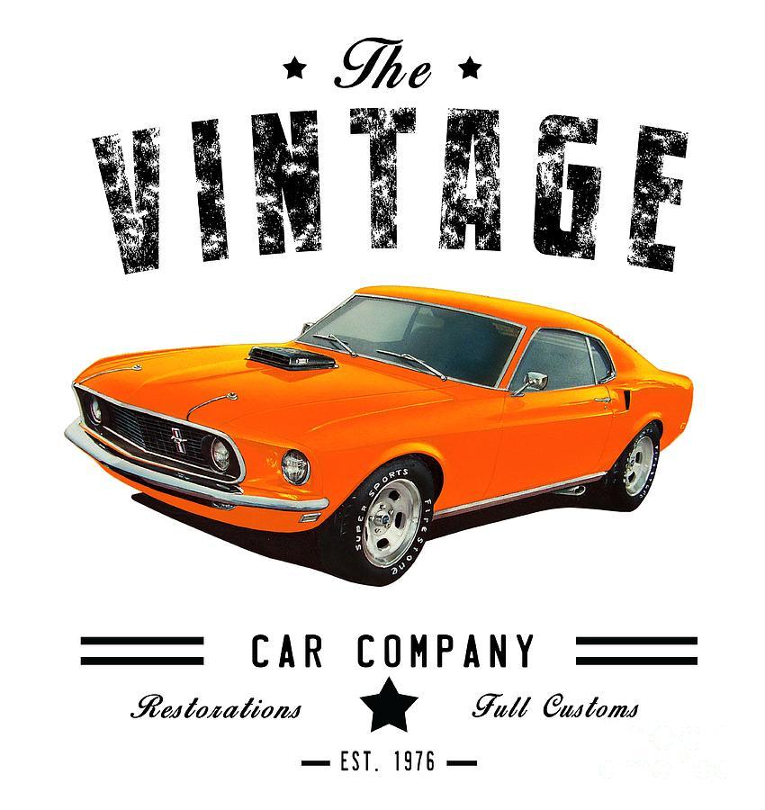 Vintage Car Company Mustang Digital Art by Paul Kuras