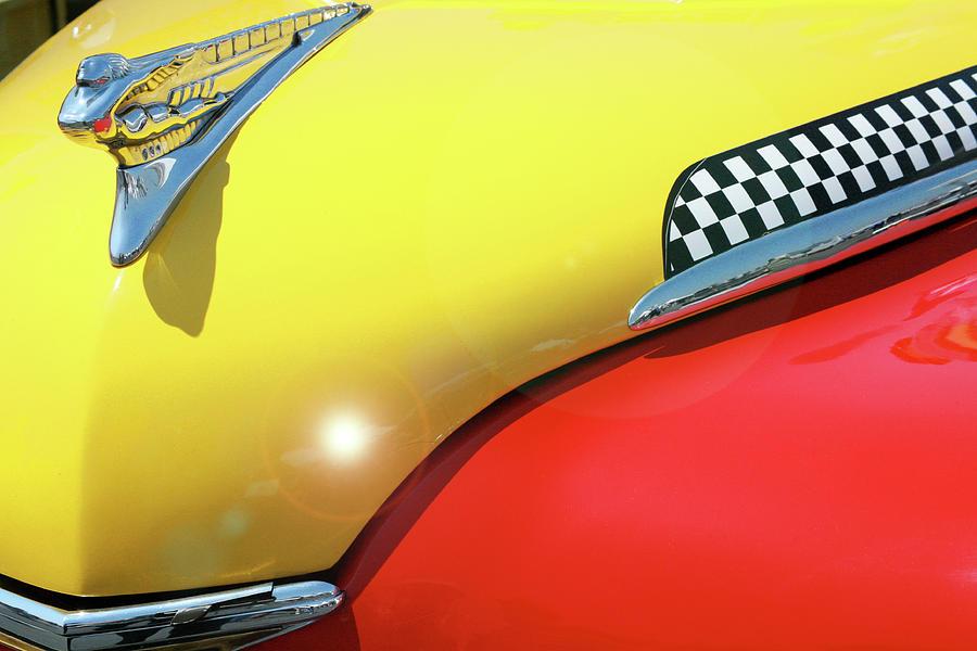 Checker Cab Photograph - Vintage Checker Cab Hood by Ave Guevara