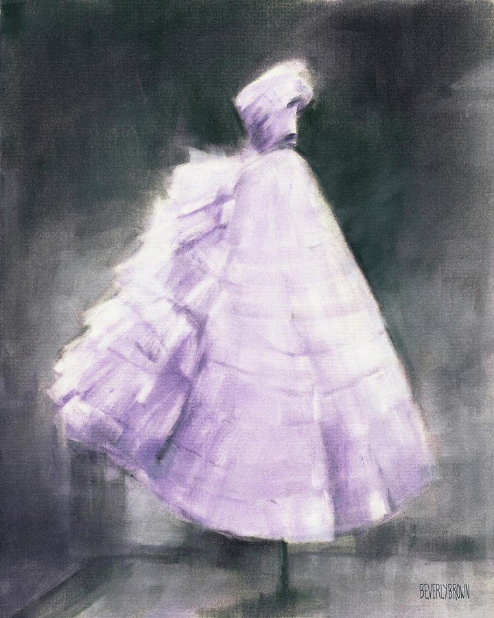 Purple Dress Painting - Vintage Chic Lavender And Gray by Beverly Brown