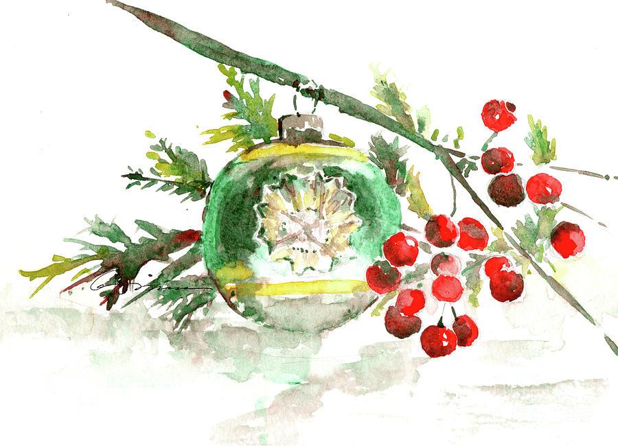 vintage christmas bulb in green painting by claudia hafner