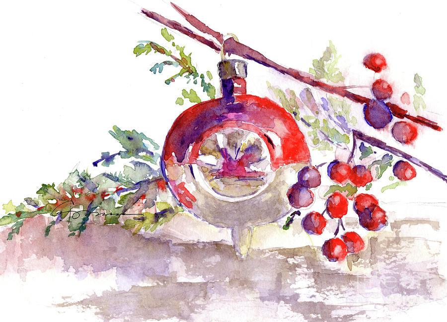 vintage christmas bulb in red painting by claudia hafner