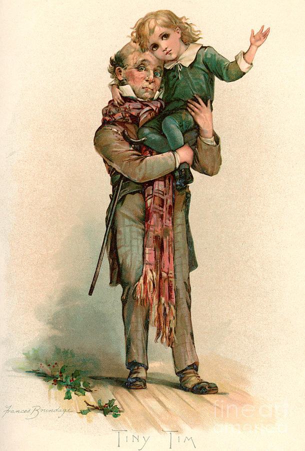 Tiny Tim Christmas Carol.Vintage Christmas Card Depicting Bob Cratchit Carrying Tiny Tim