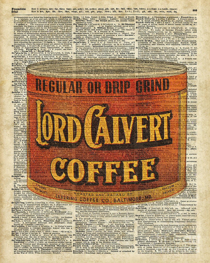 Vintage Digital Art - Vintage Coffee On Dictionary Page by Anna W
