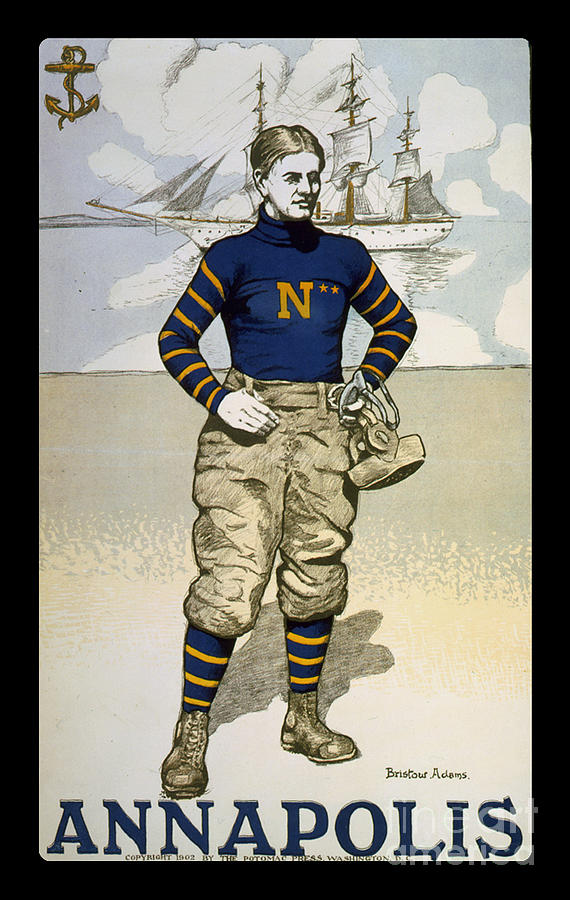 Navy Photograph - Vintage College Football Annapolis by Edward Fielding