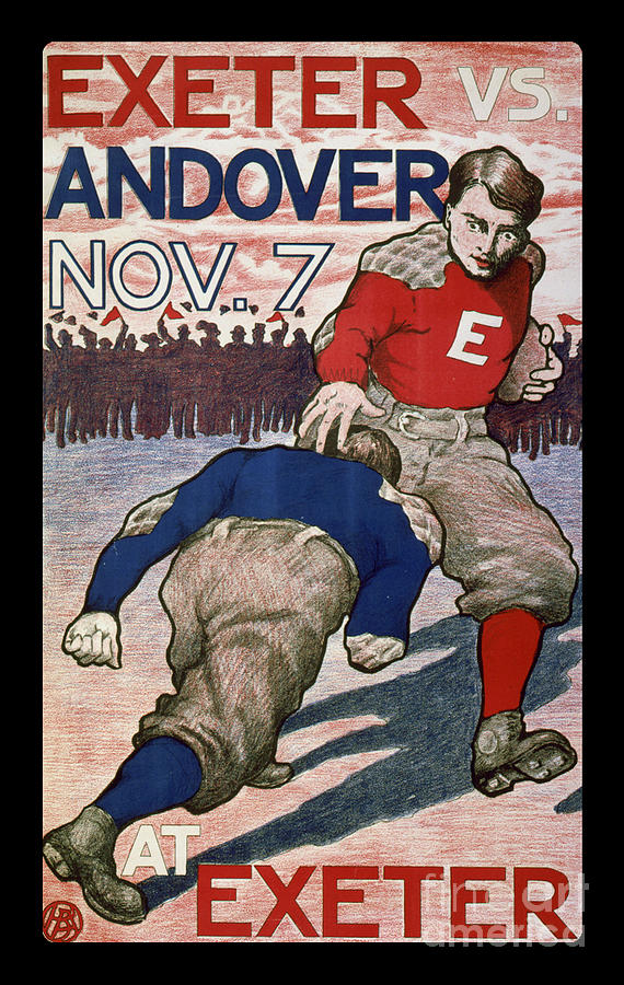 Vintage College Football Exeter Andover Drawing