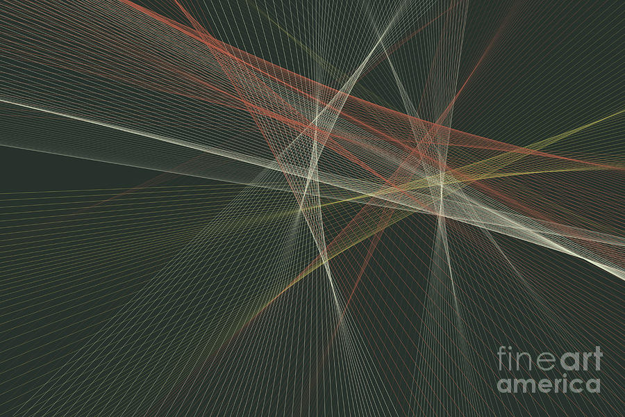Abstract Digital Art - Vintage Computer Graphic Line Pattern by Frank Ramspott