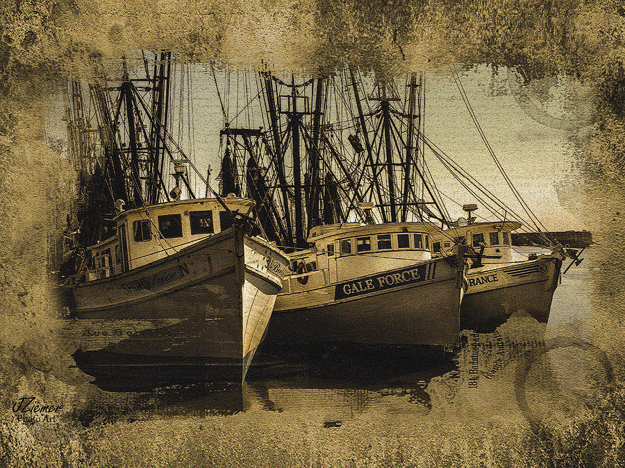 Boats Photograph - Vintage Darien Shrimpers by Jim Ziemer