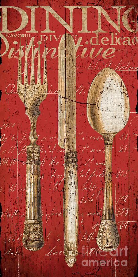 Dining Painting - Vintage Dining Utensils In Red by Grace Pullen
