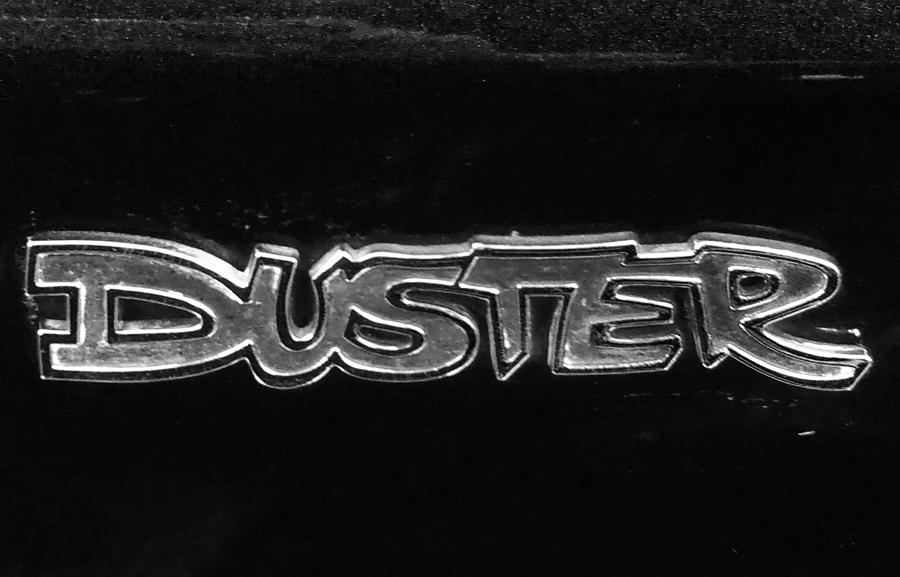 Cars Photograph - Vintage Duster Logo by Linda McAlpine