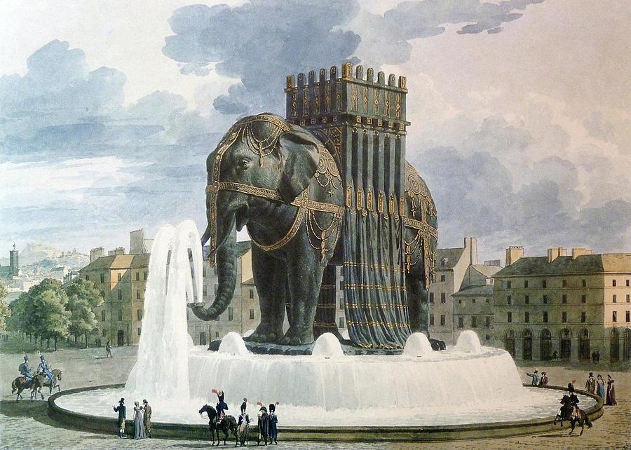 Vintage Elephant Of The Bastille Illustration Drawing