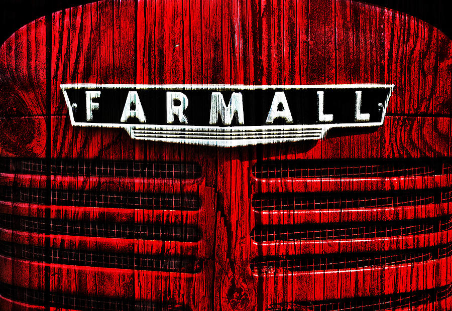 Tractor Photograph - Vintage Farmall Red Tractor With Wood Grain by Luke Moore