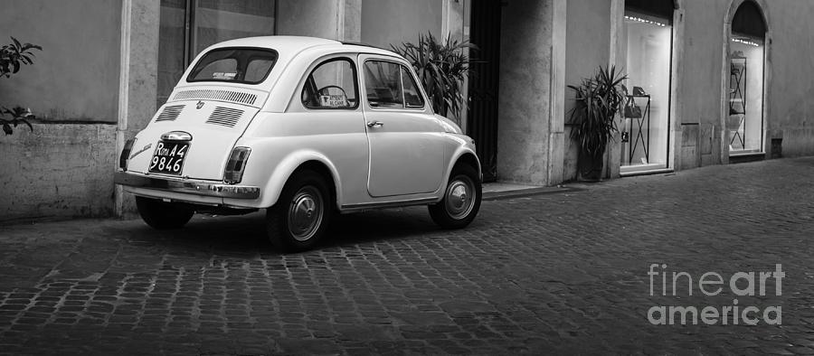 vintage fiat 500 rome italy black and white photograph by edward fielding. Black Bedroom Furniture Sets. Home Design Ideas