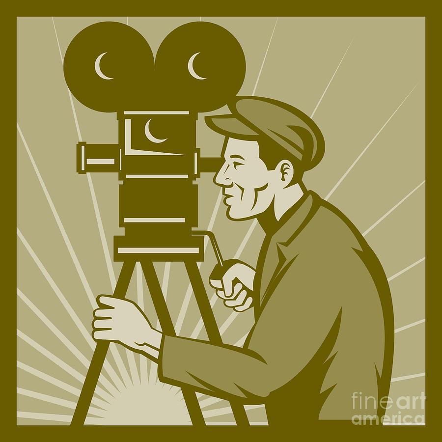 Camera Digital Art - Vintage Film Camera Director by Aloysius Patrimonio