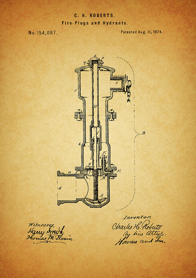 Fire Hydrant Patent Drawing - Vintage Fire Hydrant by Dan Sproul