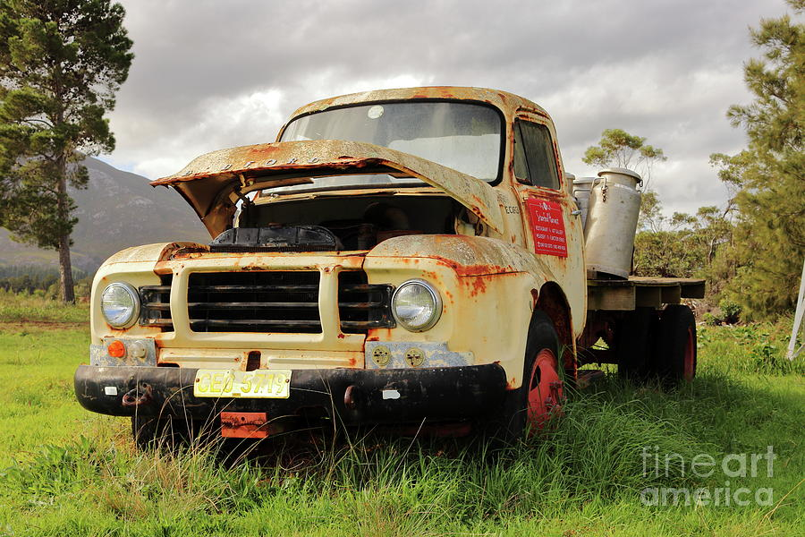 Vintage Flatbed Milk Truck Portrait Photograph by Gary Scott