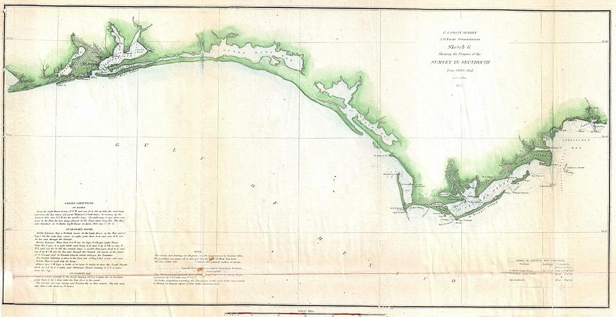 Vintage Florida Panhandle Coastal Map - 1852 Drawing by ...