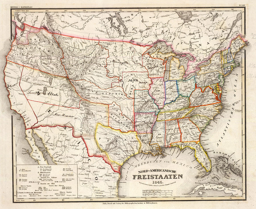 Vintage Foreign United States Map Drawing By 1845 Us Map