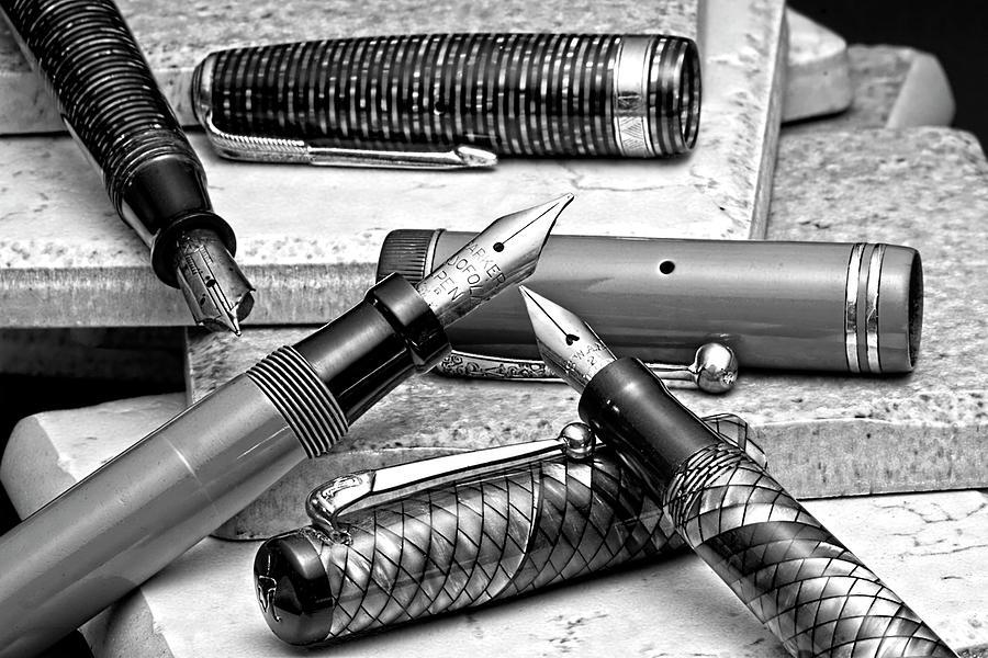 Antique Photograph - Vintage Fountain Pens by Tom Mc Nemar