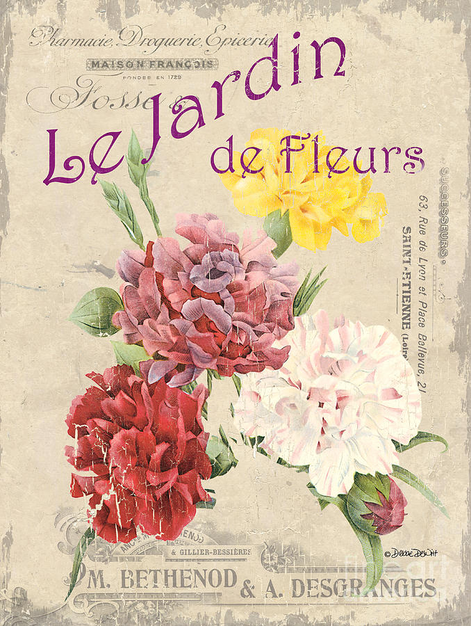 Floral Painting - Vintage French Flower Shop 4 by Debbie DeWitt