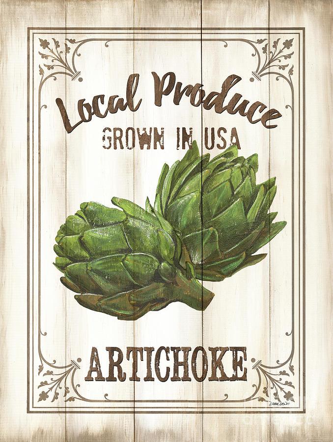 Artichoke Painting - Vintage Fresh Vegetables 2 by Debbie DeWitt