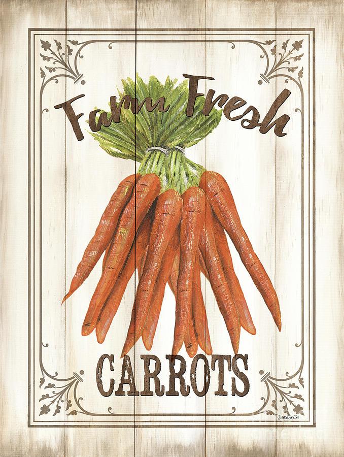 Carrots Painting - Vintage Fresh Vegetables 3 by Debbie DeWitt