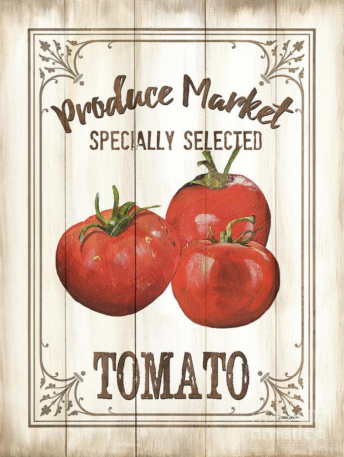 Tomatoes Painting - Vintage Fresh Vegetables 4 by Debbie DeWitt