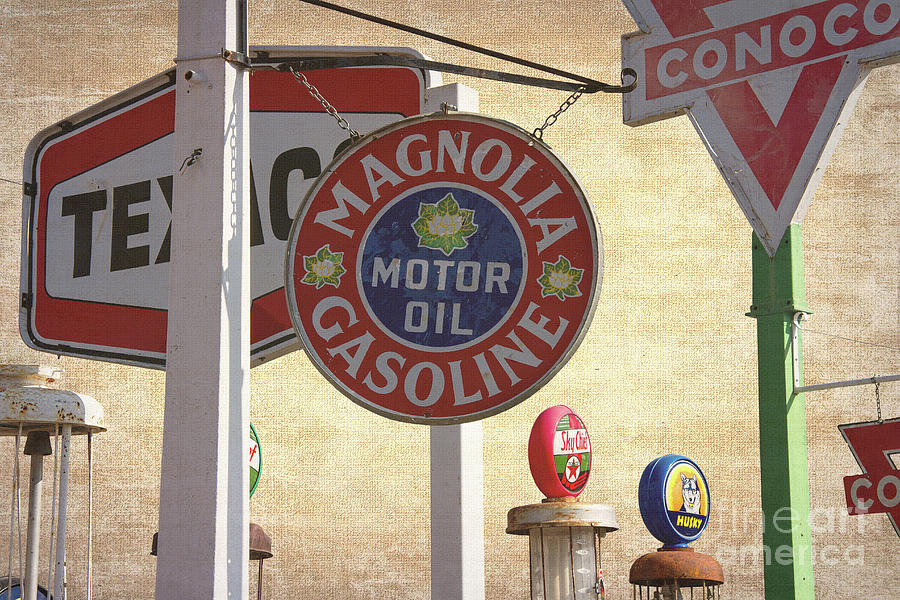 Vintage Gas Pumps And Oil Signs