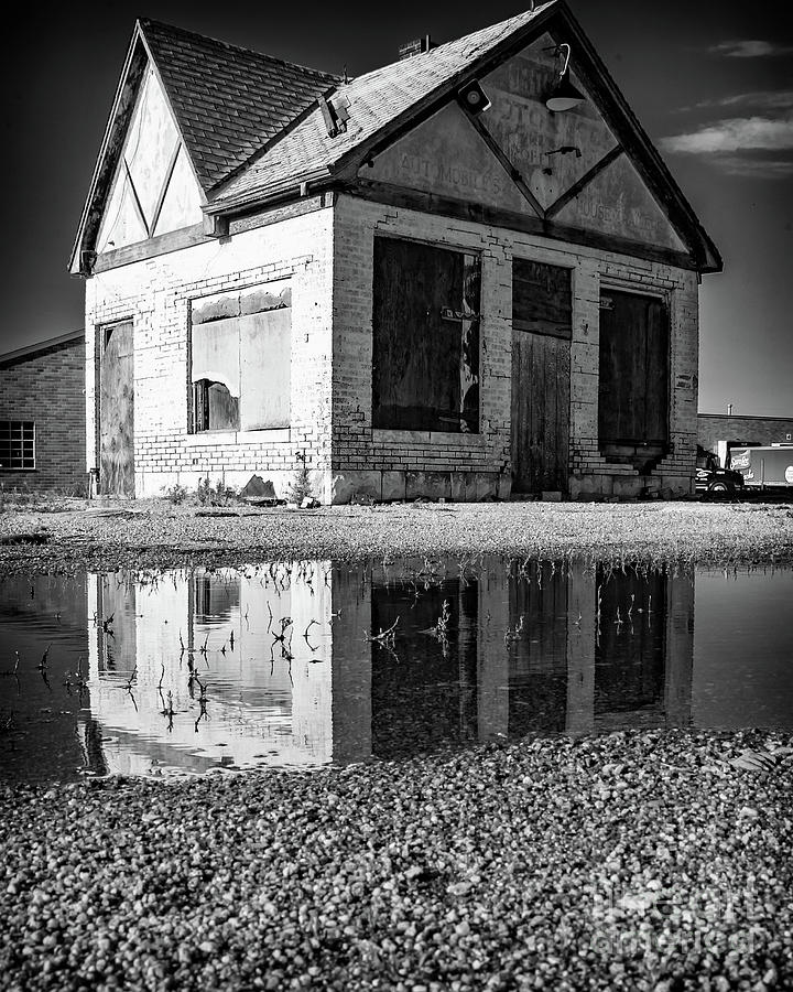 Vintage Gas Station Reflection by Kevin Anderson
