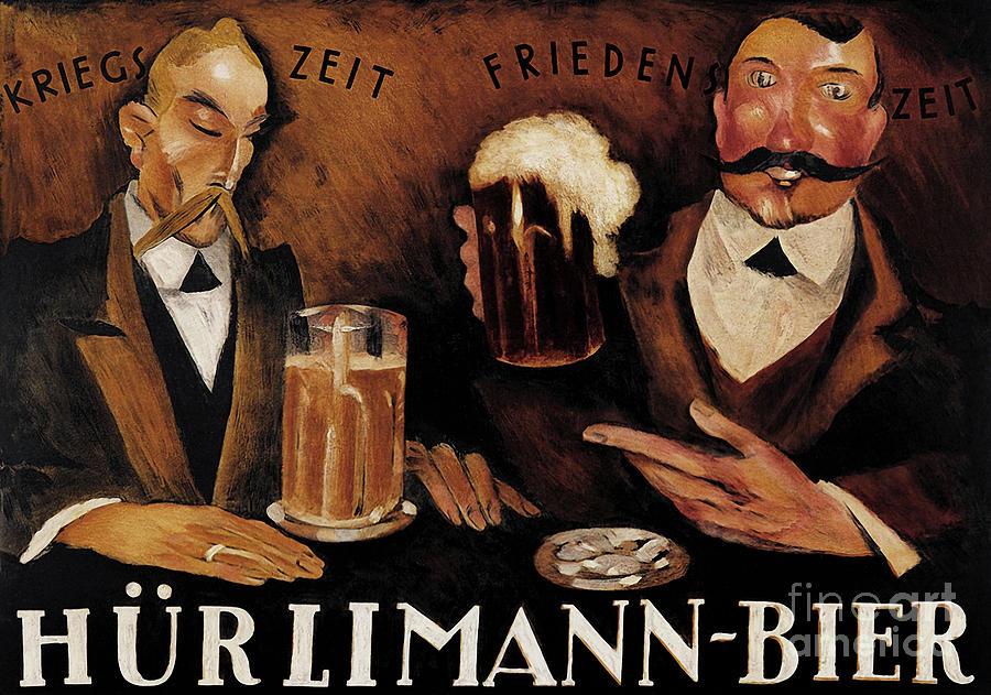 Bier Painting - Vintage German Beer Advertisement, Friends Drinking Bier by Tina Lavoie
