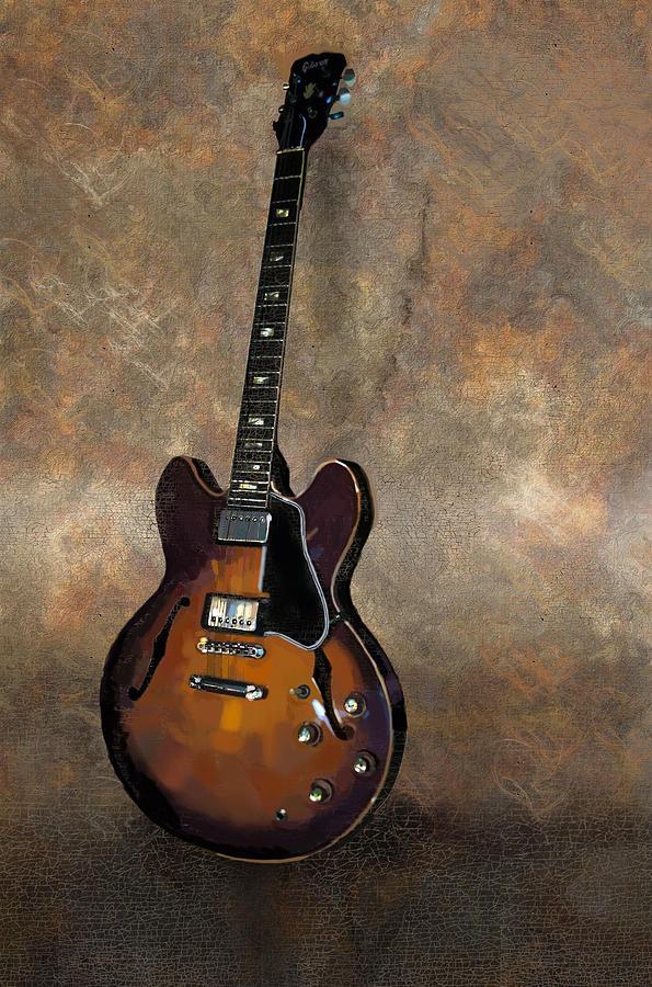 Vintage Guitar Painting - Vintage Gibson 335 Electric Guitar by Bradford Adams
