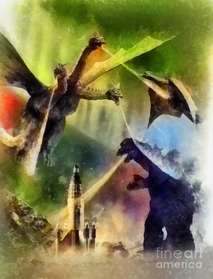 Vintage Godzilla Painting