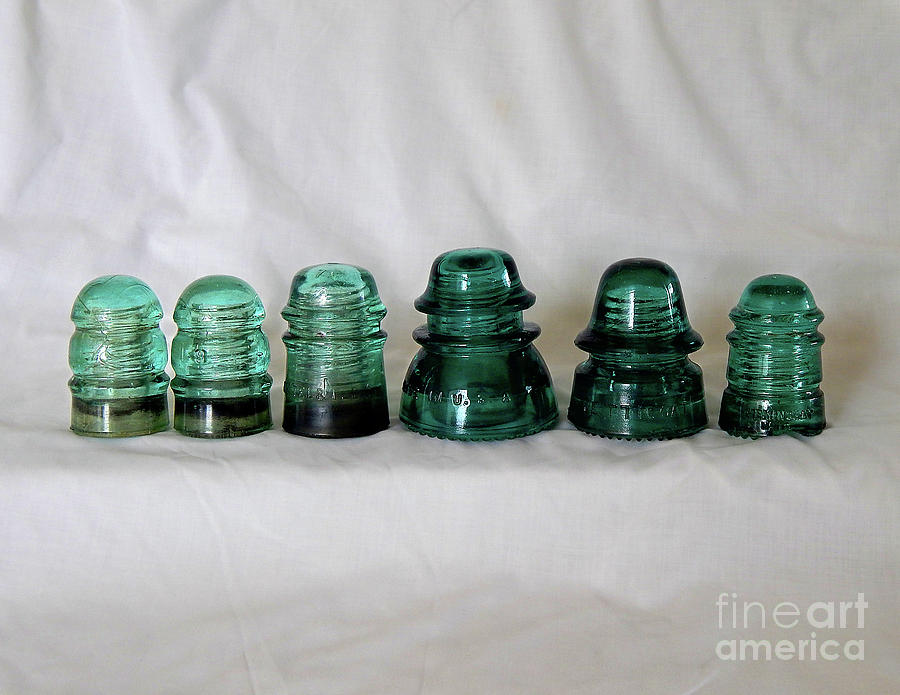 Green Glass Digital Art - Vintage Green Glass Insulators by Phil Perkins