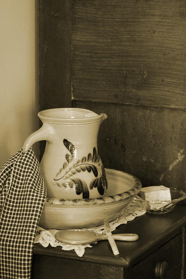Sepia Tones Photograph - Vintage Grooming Set and Stoneware Water Pitcher in Sepia Tones by Colleen Cornelius