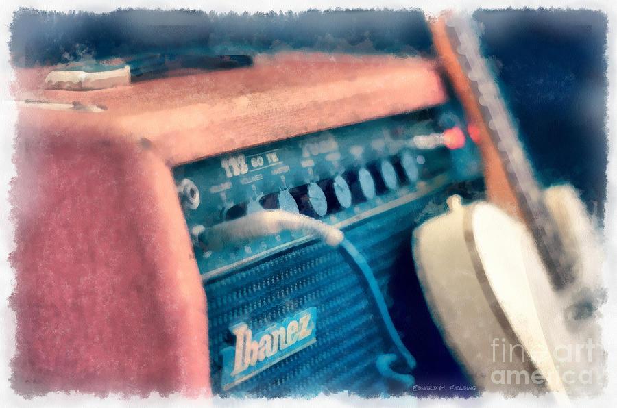 Vintage Guitar Amp Watercolor Photograph