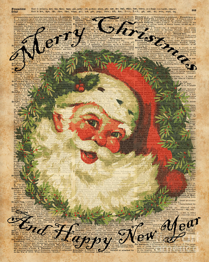 Vintage Happy Santa Christmas Greetings Festive Holidays ...