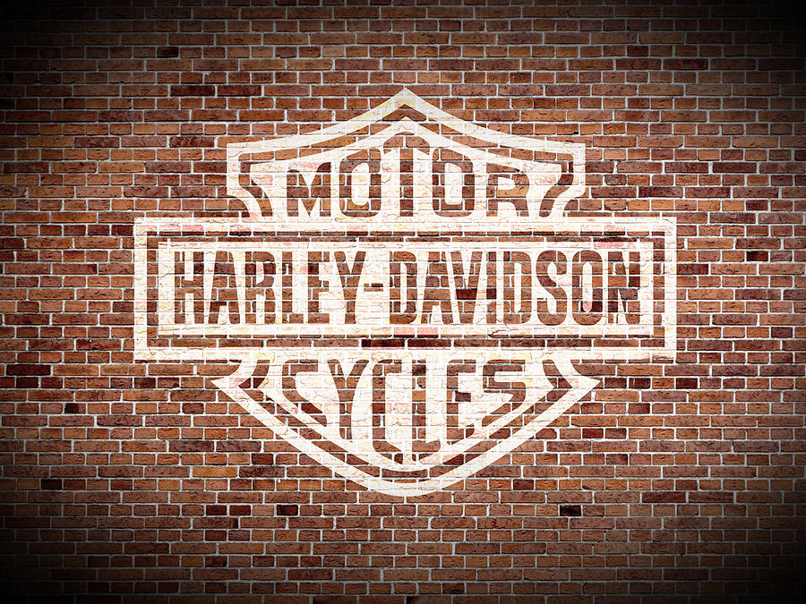 Harley Davidson Wall Art   Mixed Media   Vintage Harley Davidson Logo  Painted On Old Brick