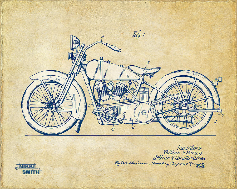 Blueprint art fine art america blueprint wall art digital art vintage harley davidson motorcycle 1928 patent artwork by malvernweather Image collections