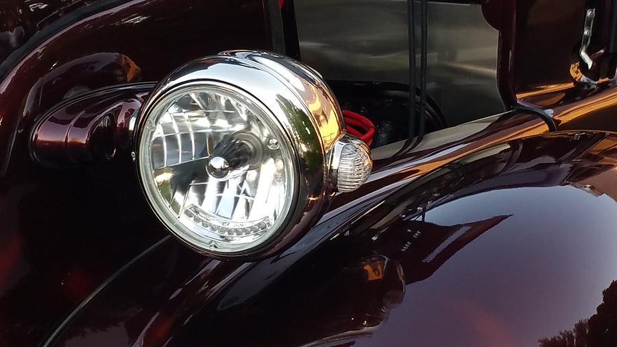 Vintage Cars Photograph - Vintage Headlight by Linda McAlpine