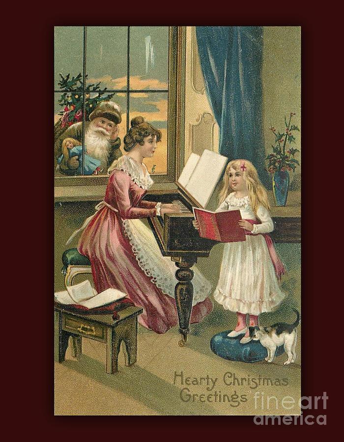 Vintage Digital Art - Vintage Hearty Christmas Postcard by Melissa Messick