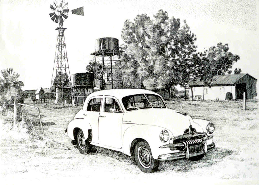 Vintage Holden Nsw Australia Drawing by Aung Win
