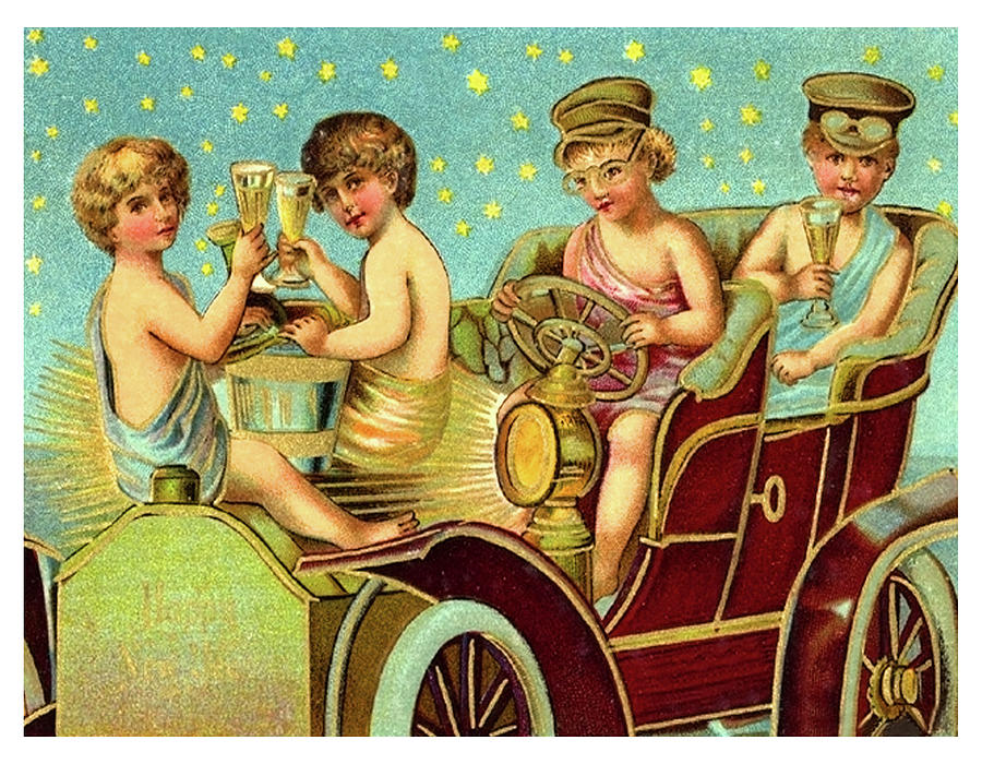 Kids Painting - Vintage Holiday Postcard by Long Shot