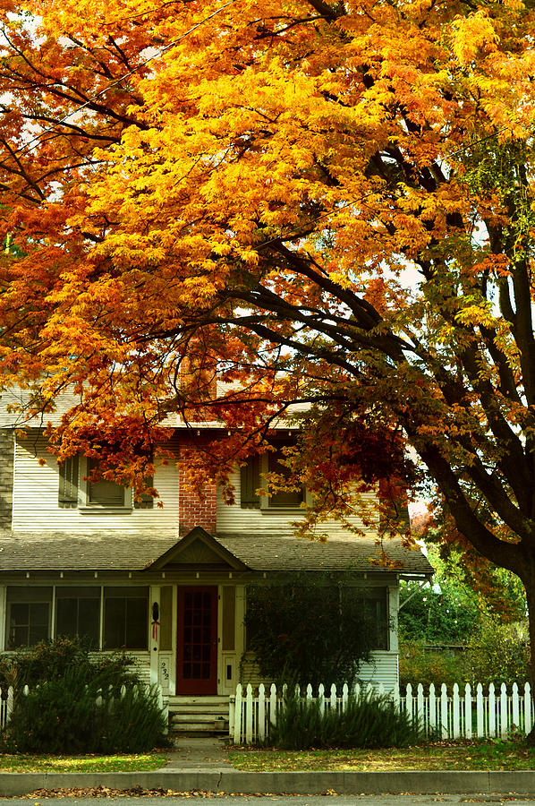Home Photograph - Vintage Home In Autumn by Pamela Patch