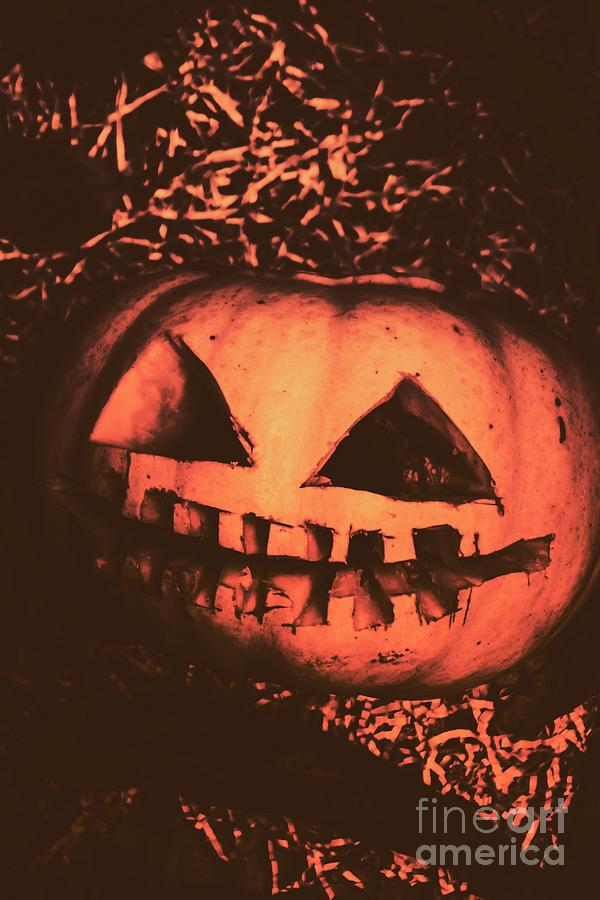 Vintage Photograph - Vintage Horror Pumpkin Head by Jorgo Photography - Wall Art Gallery