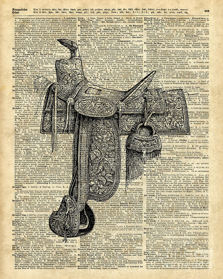 Vintage Horse Saddle Illustration Over Old Book Page Digital Art By