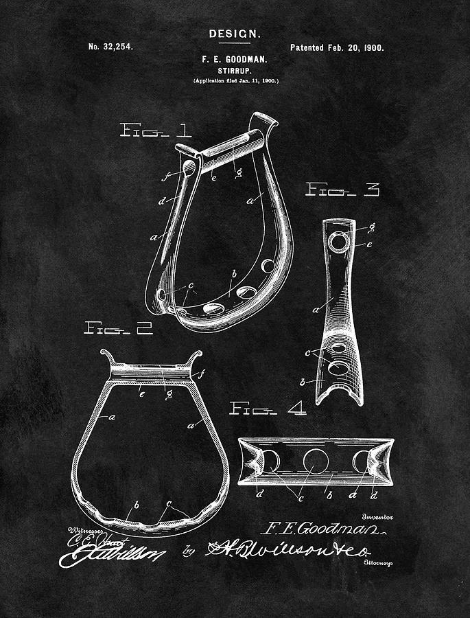 Vintage Horse Stirrup Patent Drawing