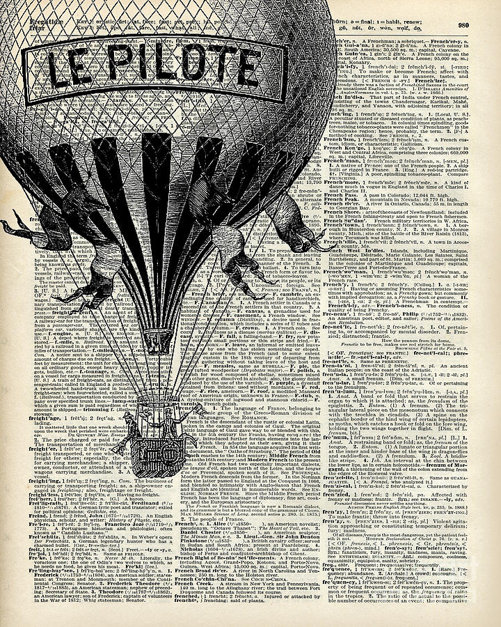 Vintage Hot Air Balloon Illustration Antique Dictionary