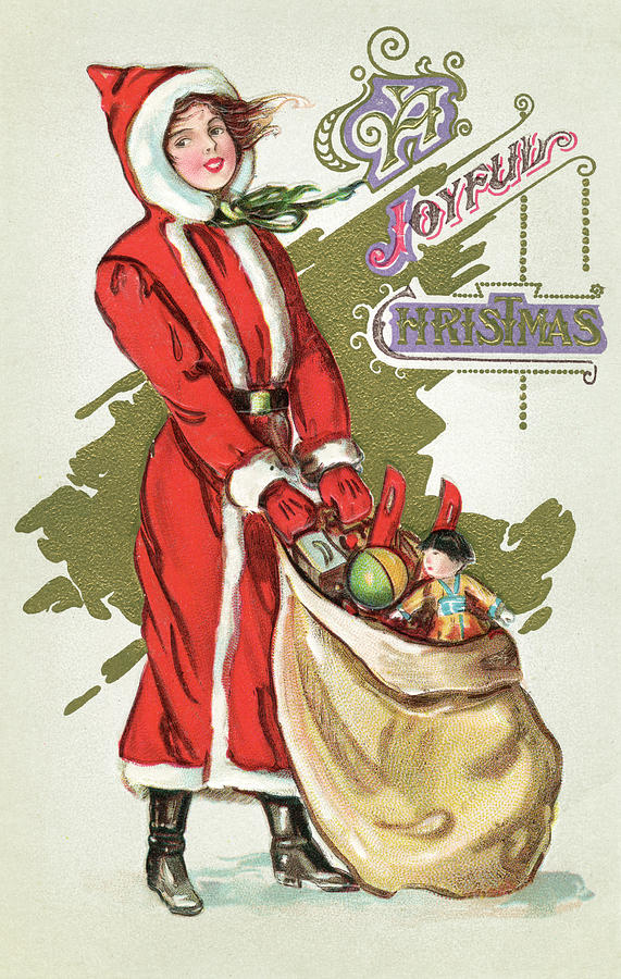 vintage illustration of a girl in a santa claus suit with