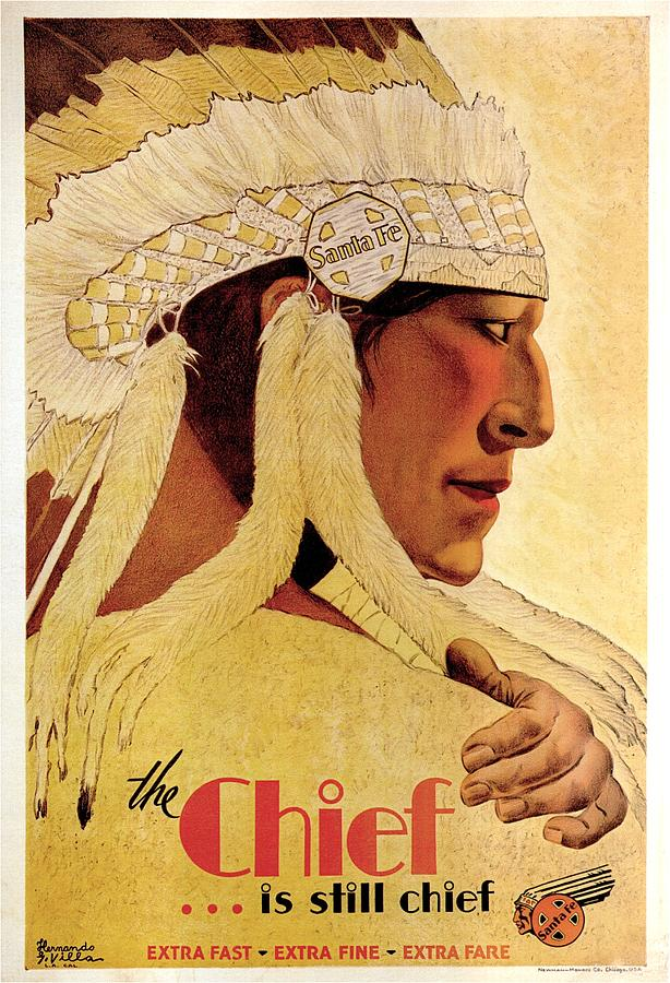 Indian Chief Painting - Vintage Illustration of an Indian Chief - The Chief is still chief - Indian Headgear - Retro Poster by Studio Grafiikka