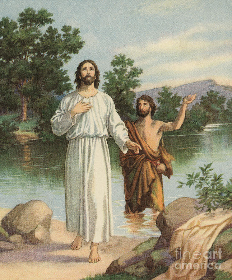 The Baptism Of Christ Painting - Vintage Illustration Of The Baptism Of Christ by American School